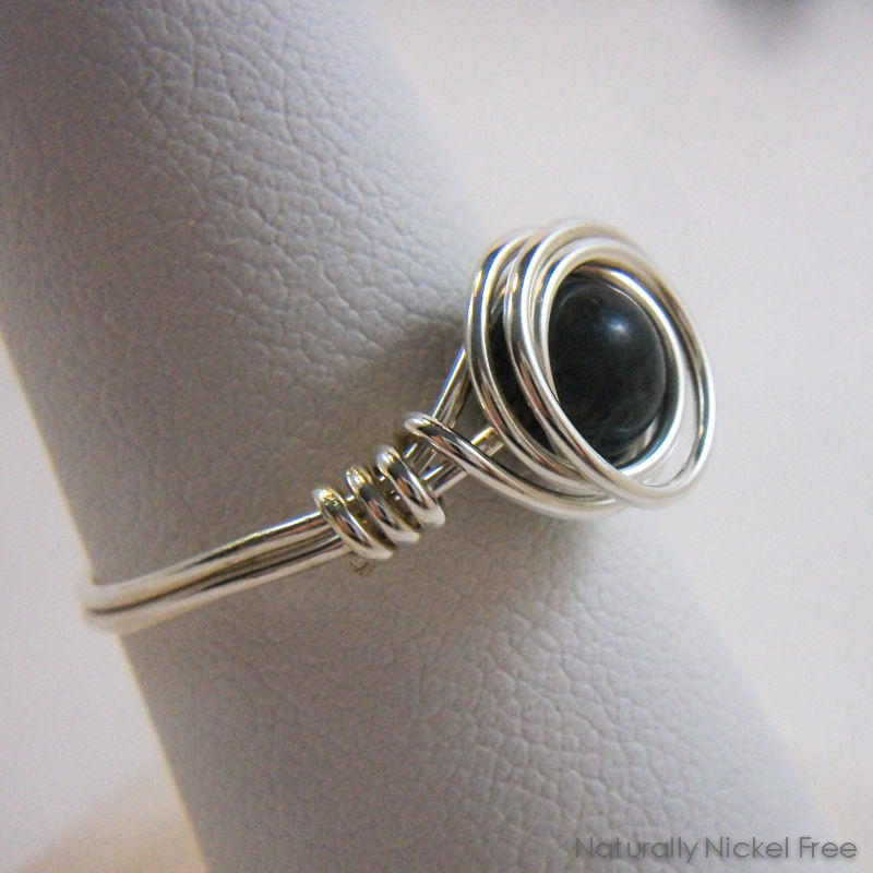 Dark Green-Blue Jasper Bead Wire Wrapped Ring with Argentium Sterling Silver - product image