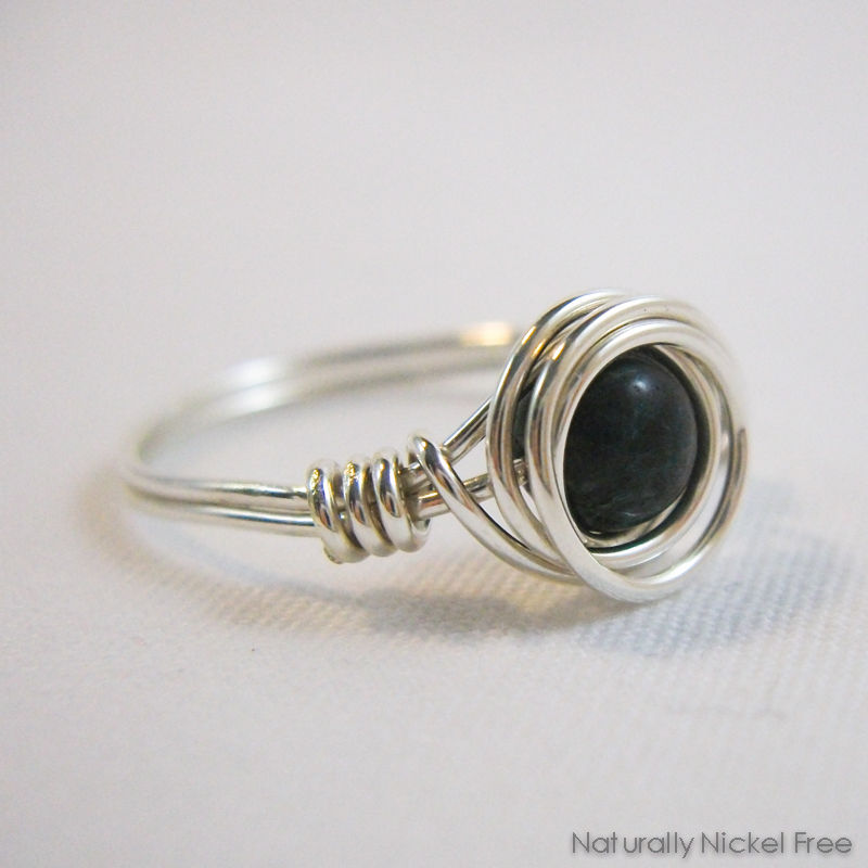 Dark Green-Blue Jasper Bead Wire Wrapped Ring with Argentium Sterling Silver - product images  of