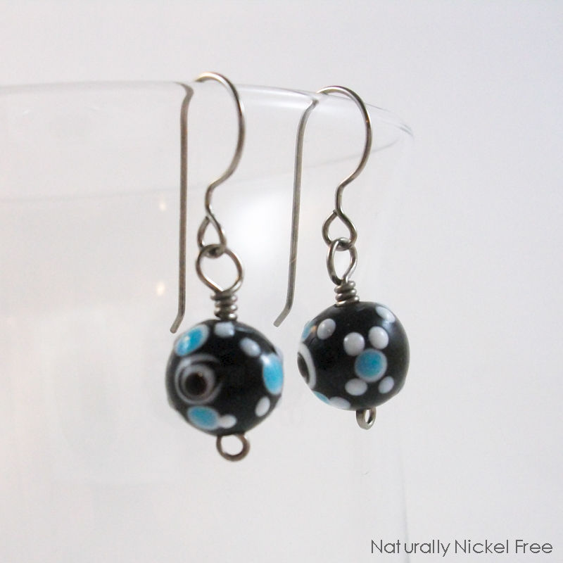 Niobium Black Glass Bead Earrings with Blue Dot Design - product images  of