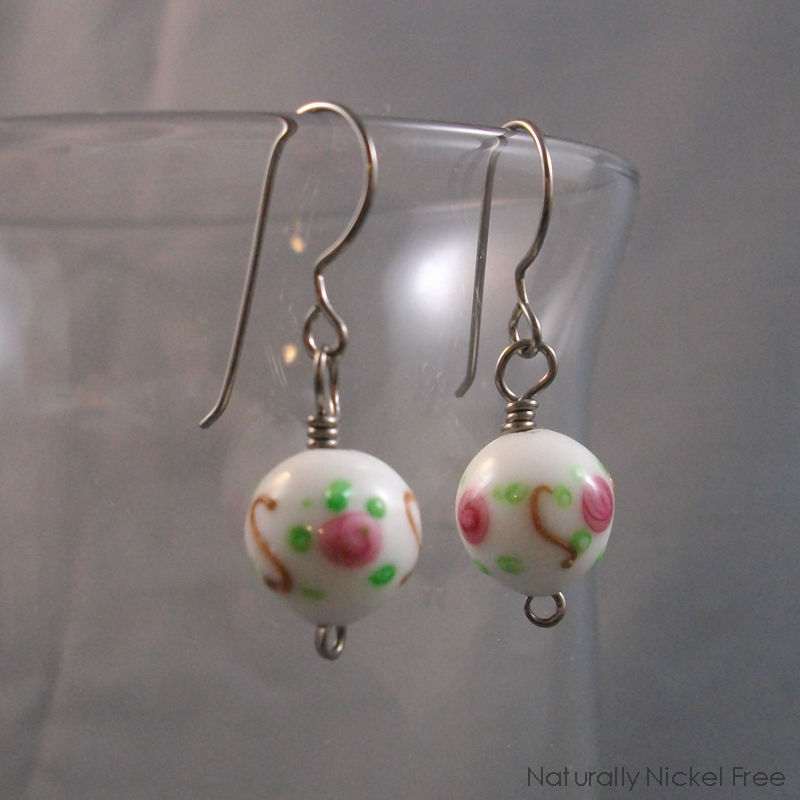 Rose Dangle Bead Earrings with Niobium Earwires - product image
