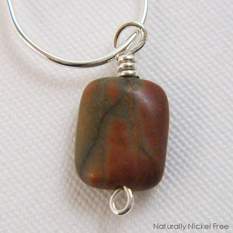 Silver Oval Post Hoop Earrings with River Creek Jasper - product images  of