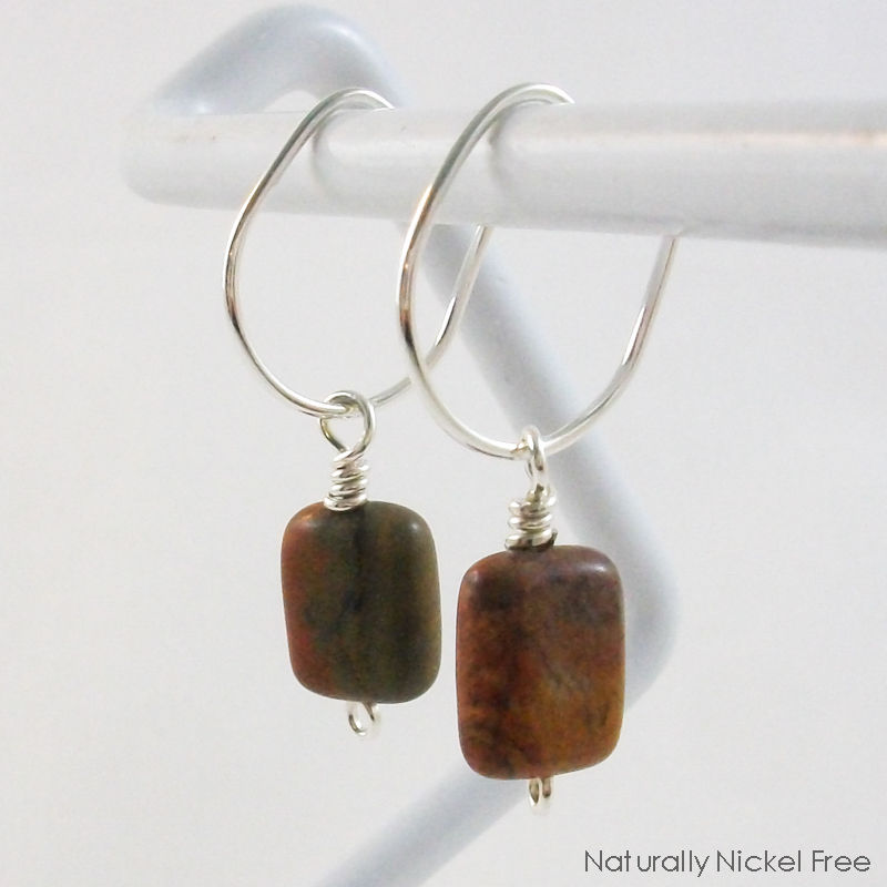 Silver Oval Post Hoop Earrings with River Creek Jasper - product image