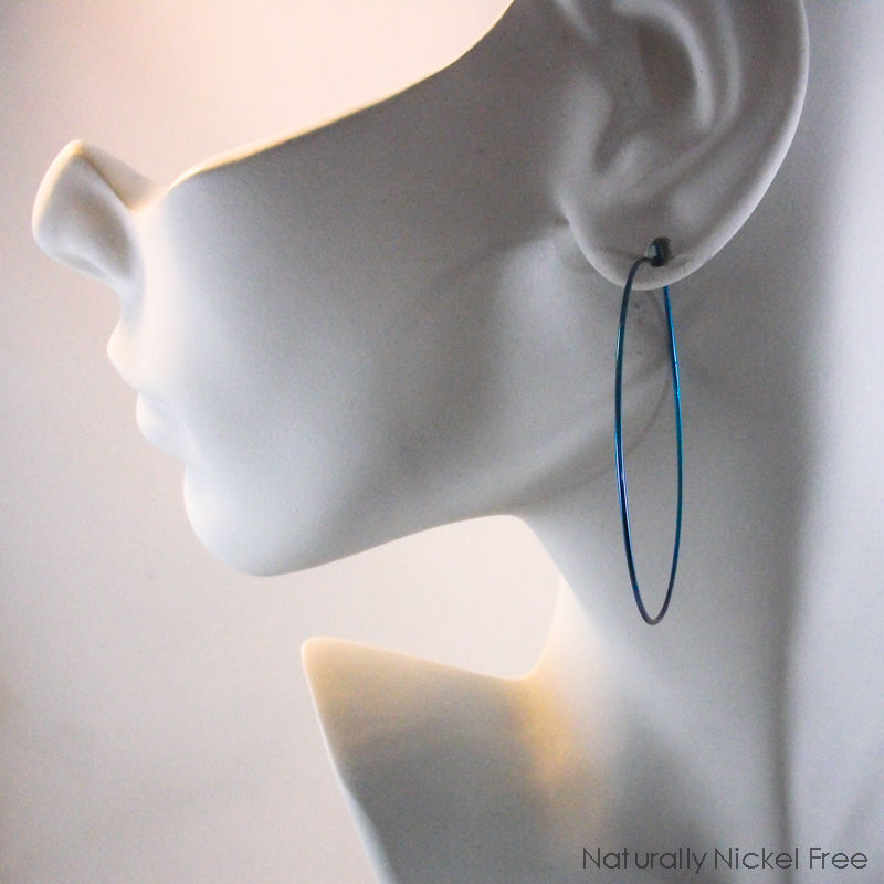 Large Niobium Hoop Earrings Peacock Blue - product image