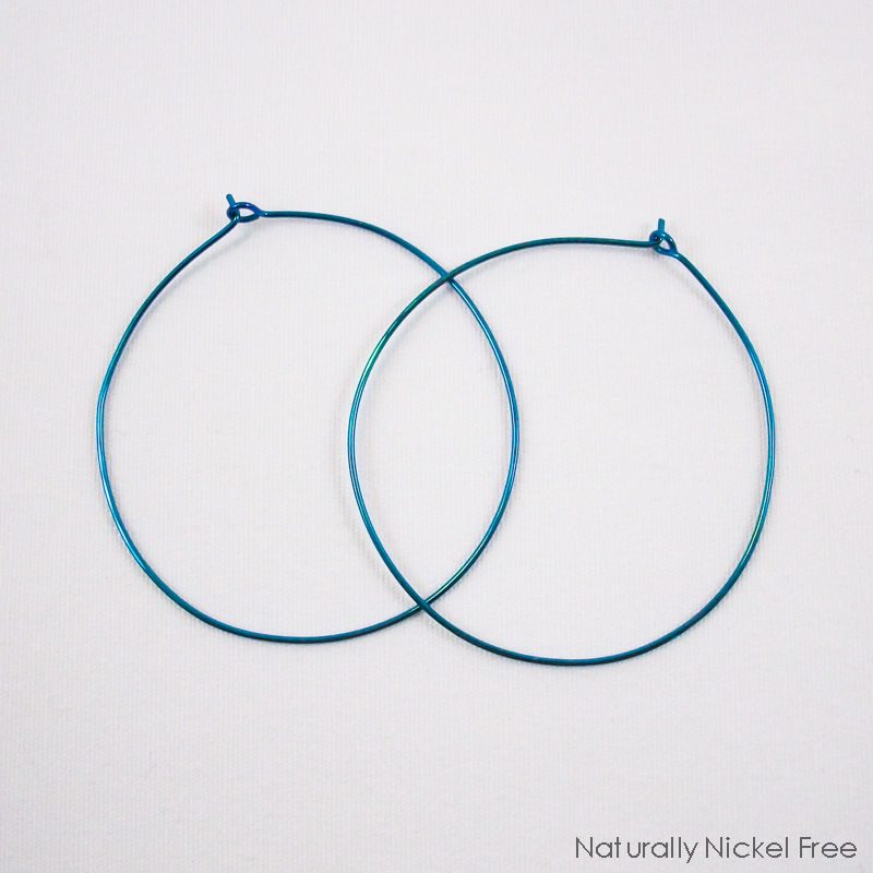 Large Niobium Hoop Earrings Peacock Blue - product images  of