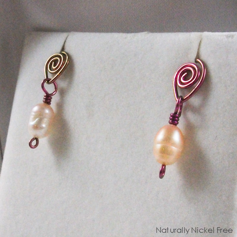 Pink Pearl Dangle Post Earrings with Niobium Teardrop Spirals - product images  of