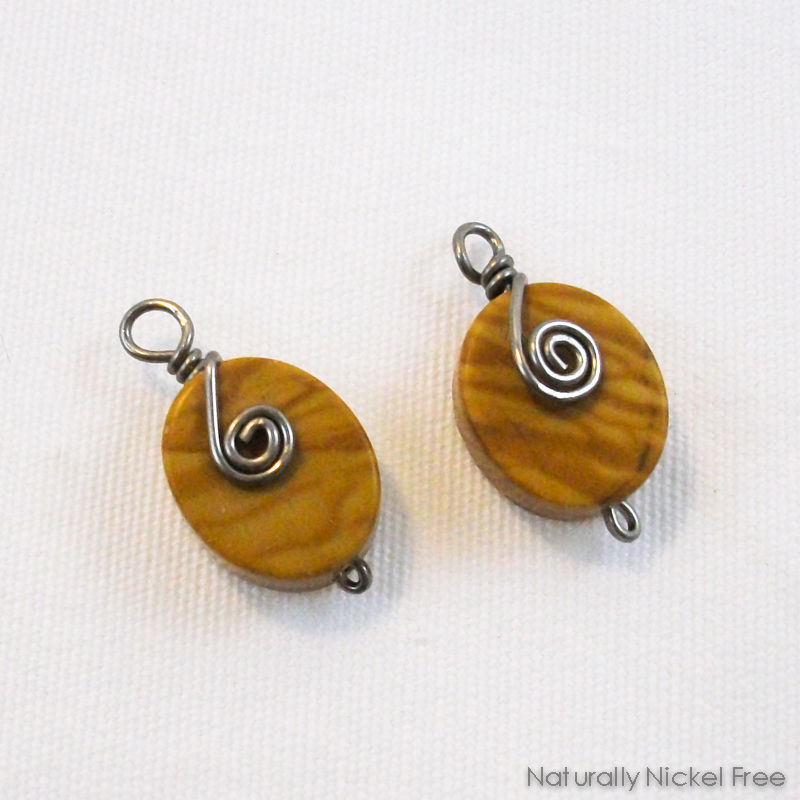 Banded Oak Agate Niobium Spiral Earring Charms - product image