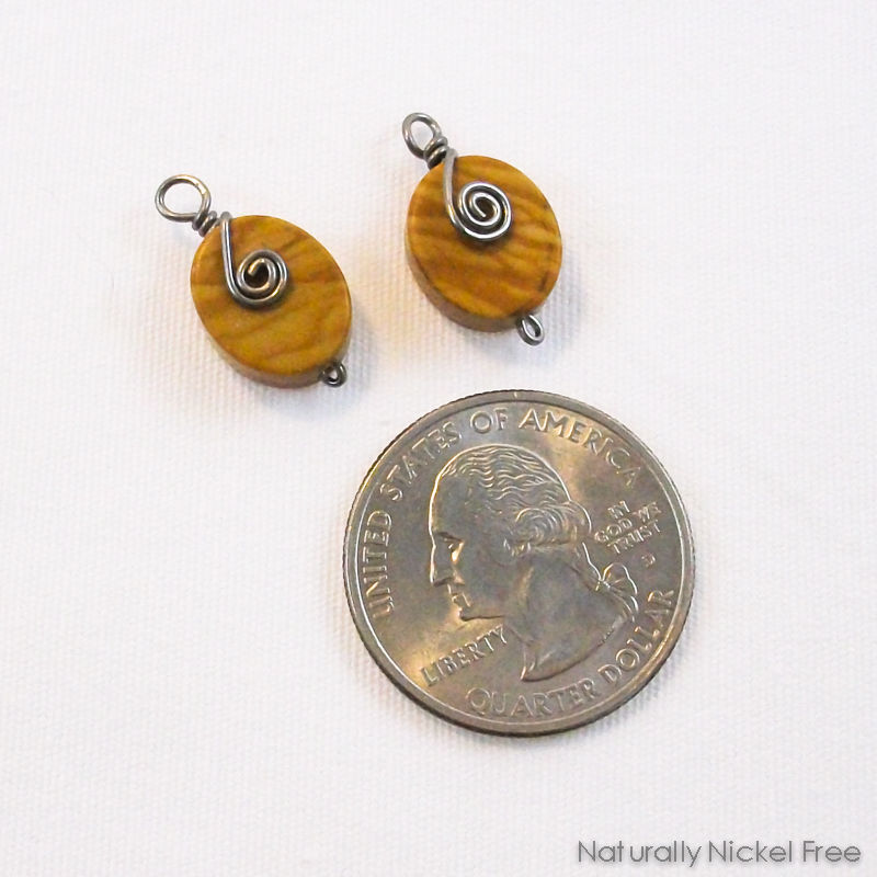Banded Oak Agate Niobium Spiral Earring Charms - product images  of