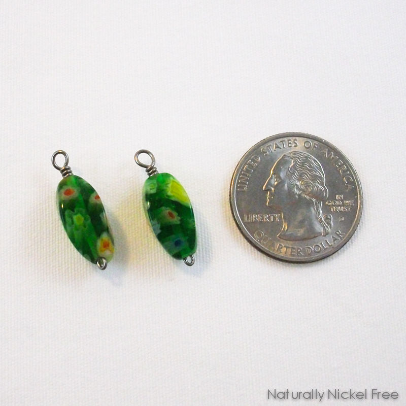 Green Millefiori Glass Niobium Earring Charms - product images  of