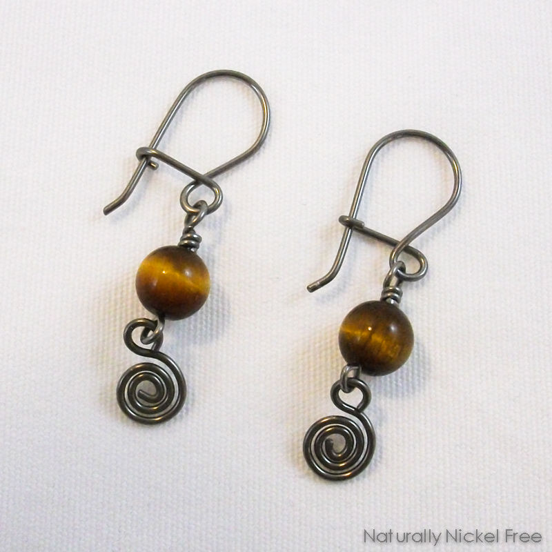 Tiger Eye Niobium Spiral Dangle Earrings with Niobium Loop n Latch Earwires - product image