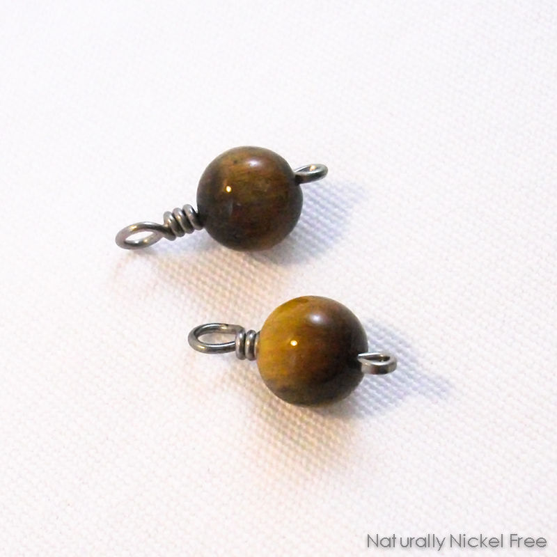 Tiger Eye Bead Niobium Charms for Earrings - product image