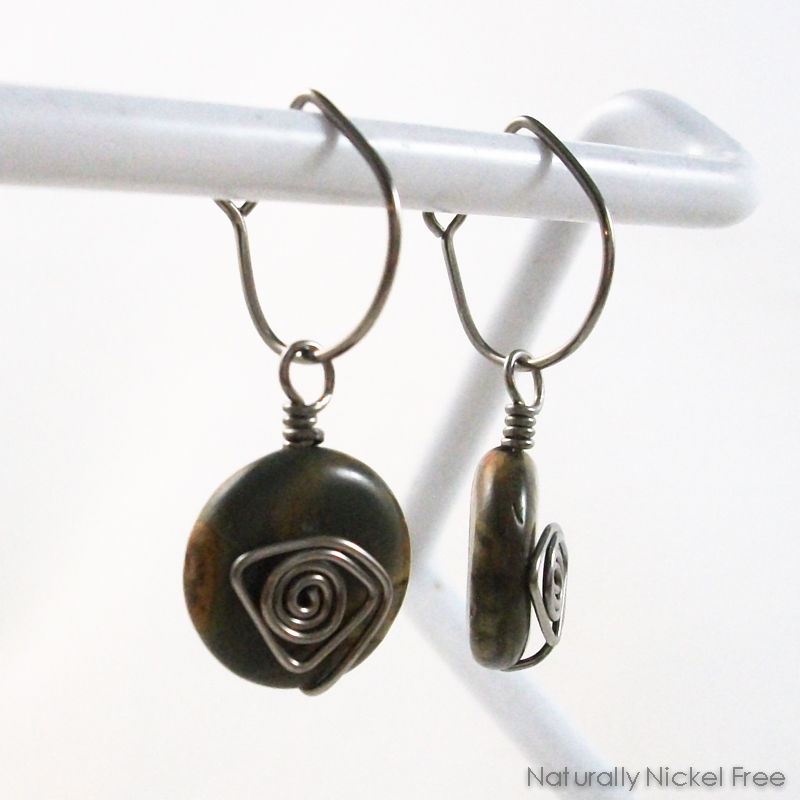 River Creek Jasper Niobium Post-Hoop Earrings - product images  of