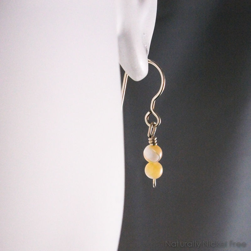 Argentium Sterling Earrings with Light Brown Shell Bead Dangle - product images  of