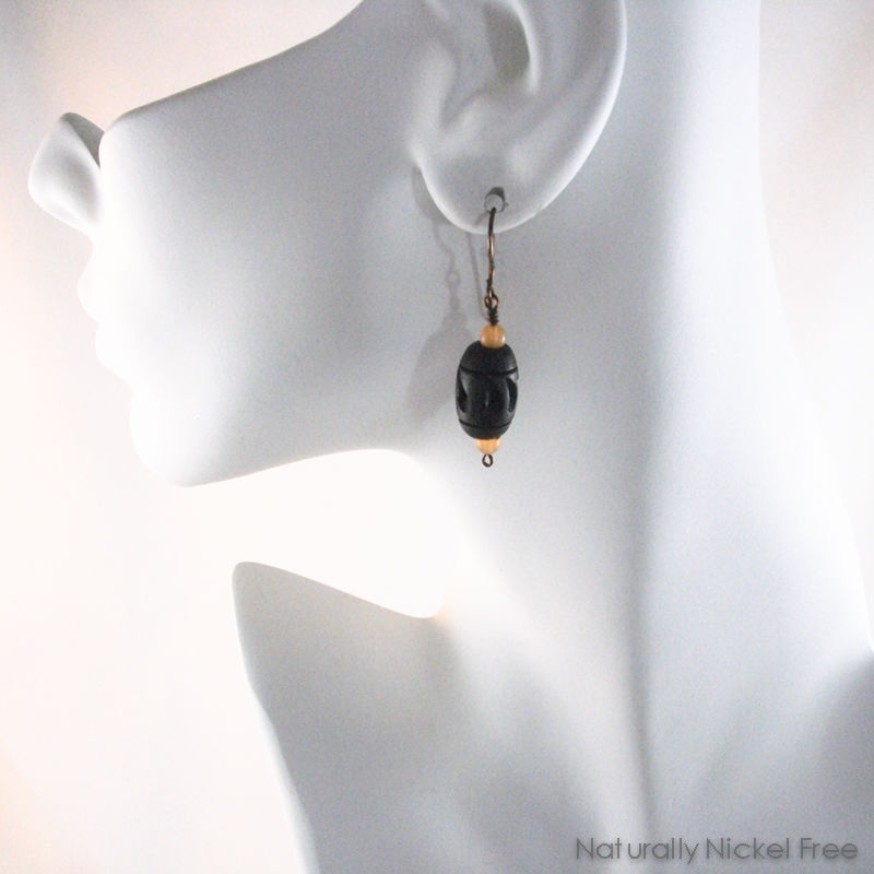 Wood Bead Niobium Dangle Earrings with Peach Aventurine - product images  of