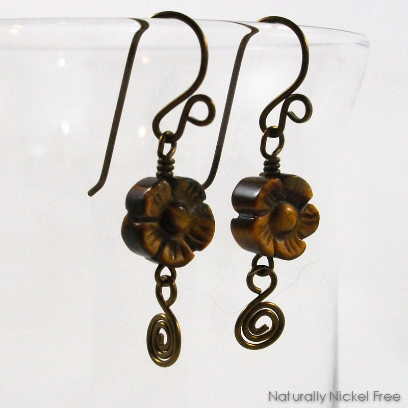 Tiger Eye Flower Earrings with Niobium Earwires - product image