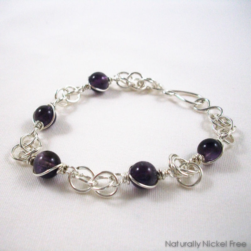 Amethyst Bead Bracelet with Argentium Sterling Silver Chainmaille - product images  of