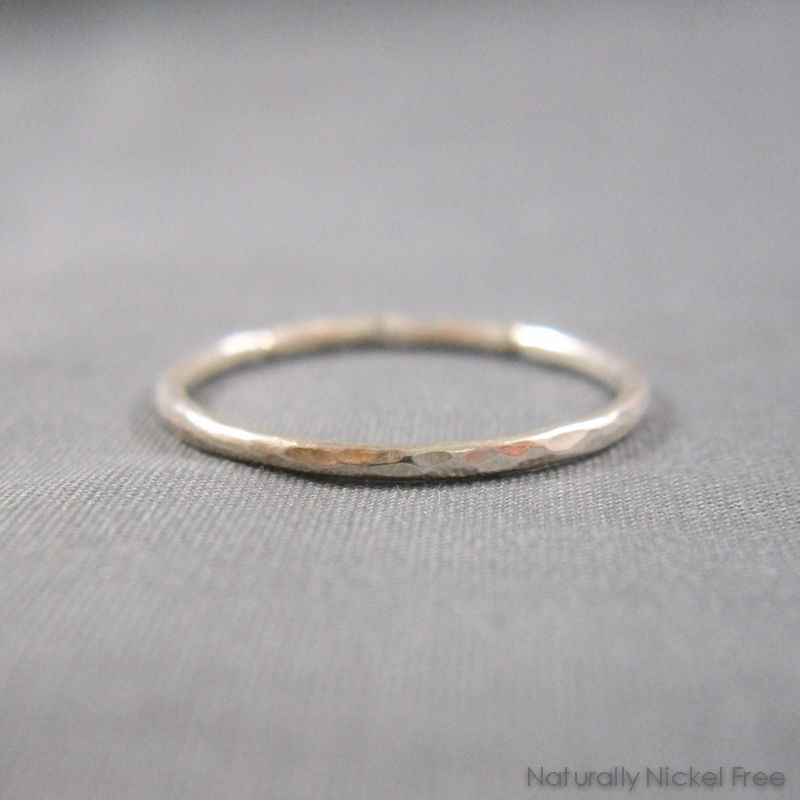 Hammered Stacking Ring in Argentium Silver, Thin Single Ring - product image