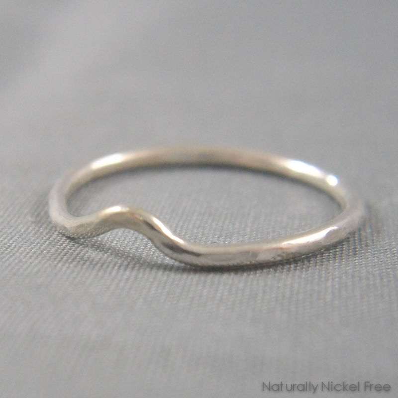 Hammered Single-Wave Ring in Argentium Sterling Silver, Thin - product images  of
