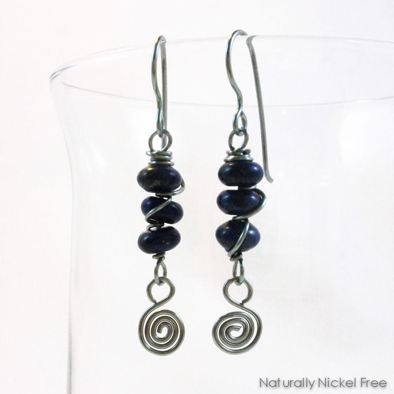 Lapis Lazuli Trio with Spiral Dangle in Light Blue Niobium - product image