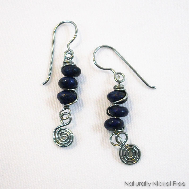 Lapis Lazuli Trio with Spiral Dangle in Light Blue Niobium - product images  of