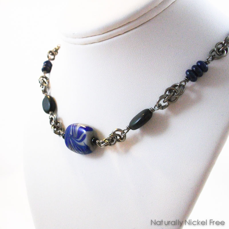 Niobium Chainmaille Necklace in Blue and Gray - product images  of