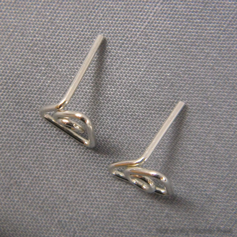 Triangle Wirework Argentium Silver Post Earrings - product images  of