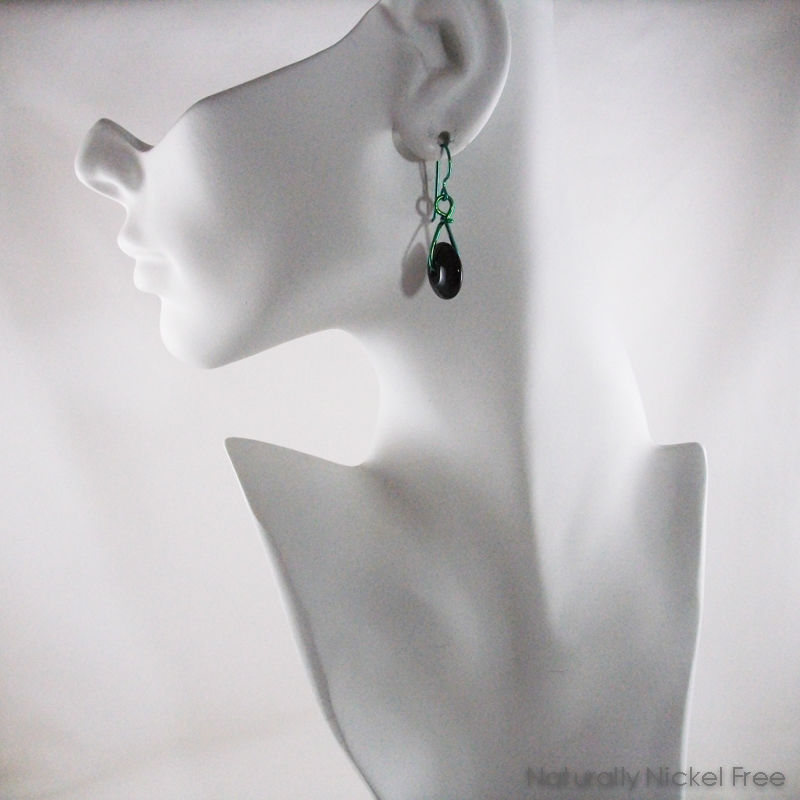 Black Glass Green Niobium Wire Swing Earrings - product images  of