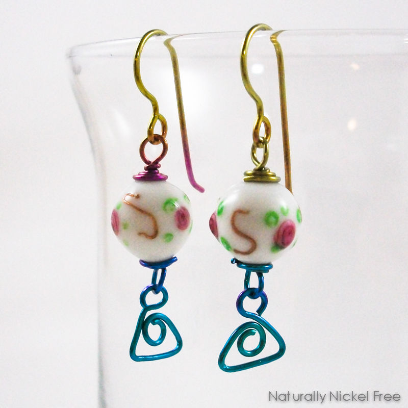Rose Bead Earrings Rainbow Niobium Wirework - product image