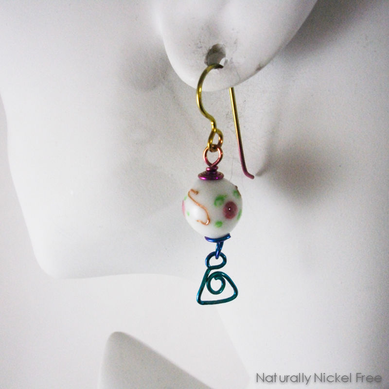 Rose Bead Earrings Rainbow Niobium Wirework - product images  of