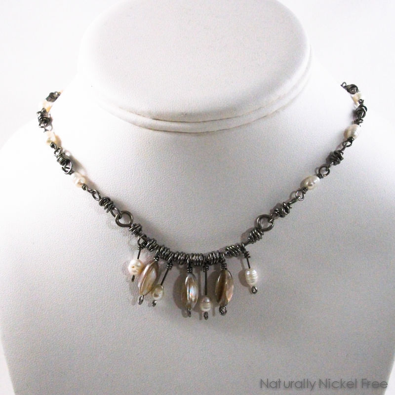 Shell Bead Necklace with Handmade Niobium Chain - product image