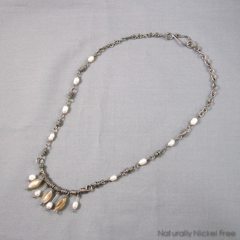 Shell Bead Necklace with Handmade Niobium Chain - product images  of