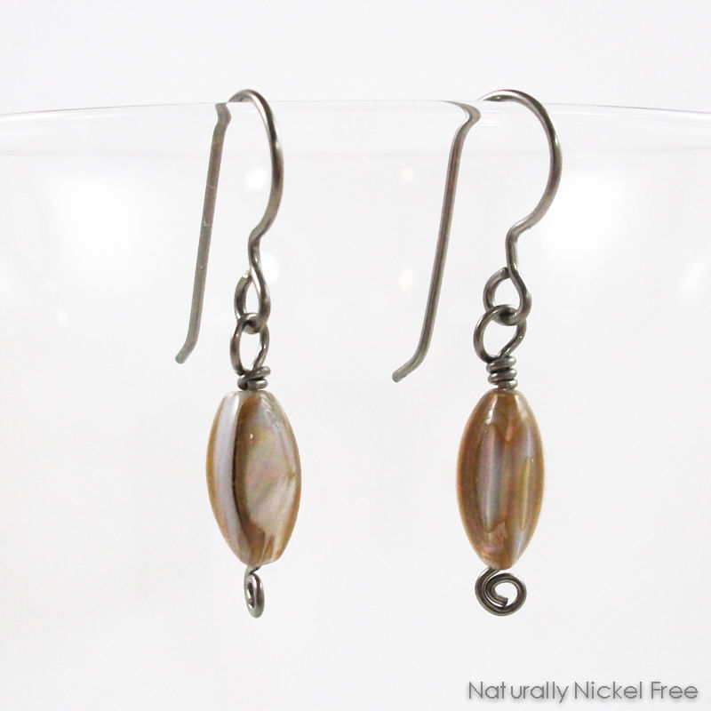 Shell Bead Niobium French Hook Earrings - product images  of