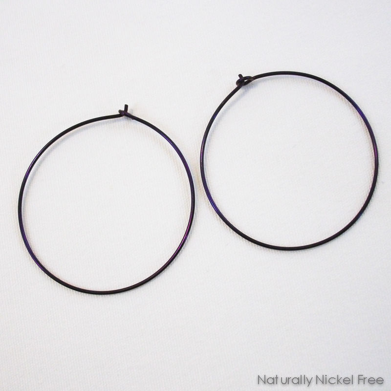 Niobium Simple Hoop Earrings, Anodized