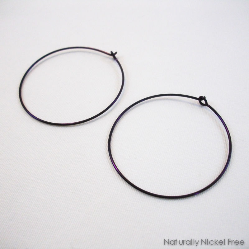 "Niobium Simple Hoop Earrings, Anodized ""Eggplant"" Purple 1.5 inch - product images  of"