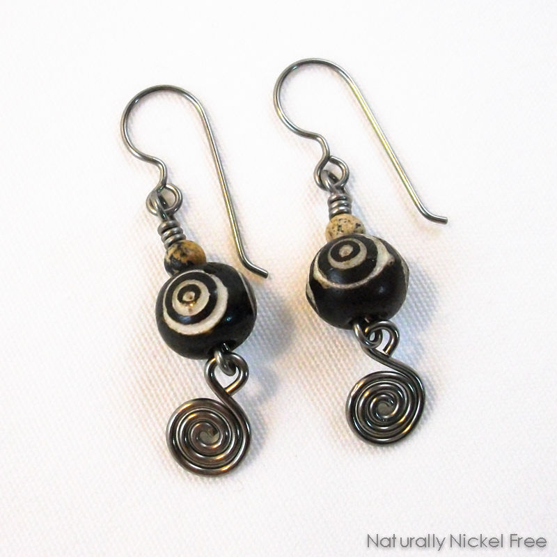 Carved Bone Niobium Earrings with Spiral - product images  of