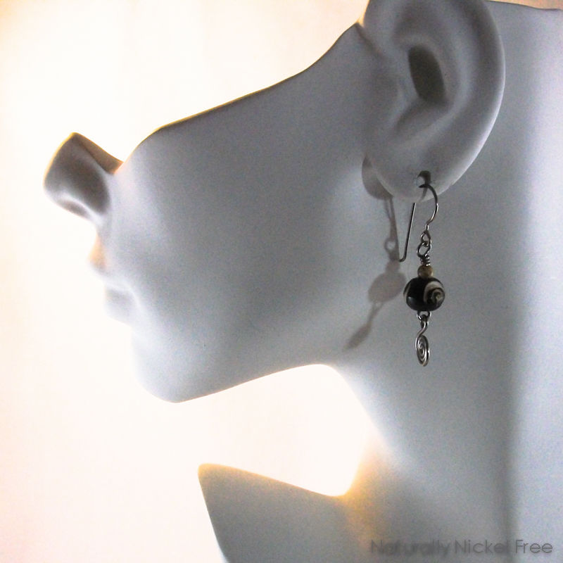 Dzi Style Bone Bead Earrings with Niobium Earwires - product images  of