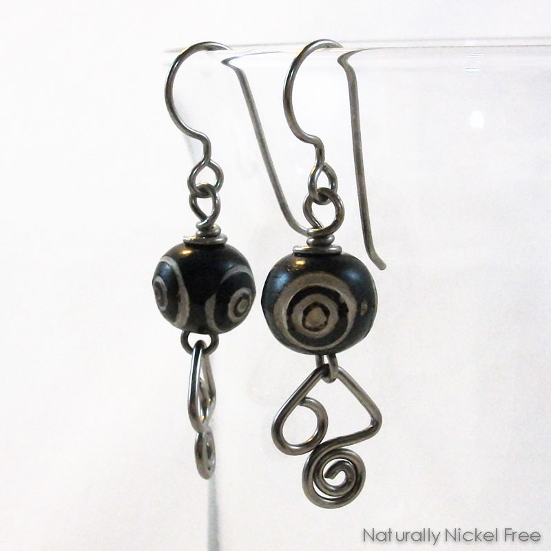 Carved Bone Earrings Angular Niobium Wire Dangles - product image