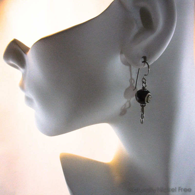 Carved Bone Earrings Angular Niobium Wire Dangles - product images  of