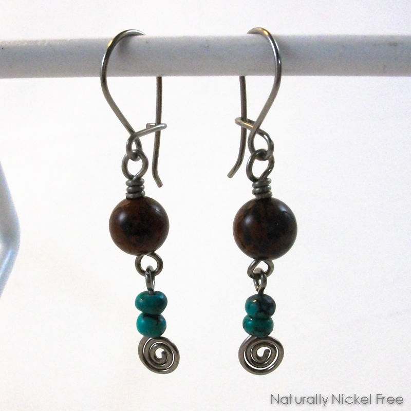 Mahogany Obsidian and Turquoise Niobium Earrings - product image