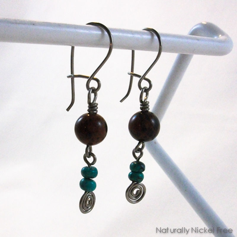 Mahogany Obsidian and Turquoise Niobium Earrings - product images  of
