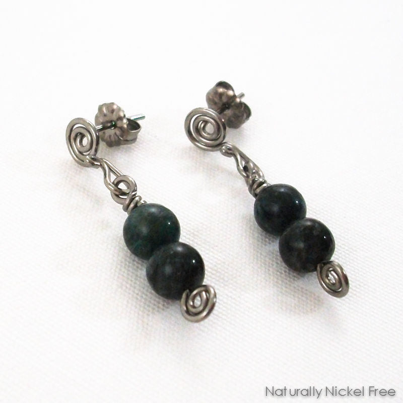 Dark Green Jasper Niobium Post Dangle Earrings - product images  of