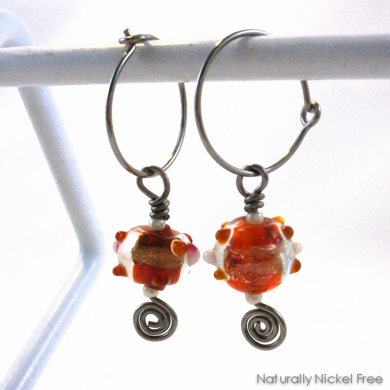 Red and Gold Glass Bead Dangle Hoop Earrings - product image