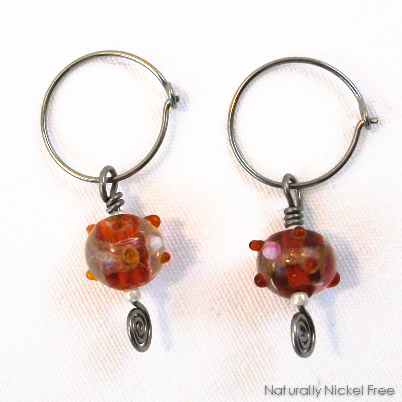 Red and Gold Glass Bead Dangle Hoop Earrings - product images  of