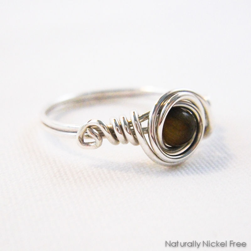 Tiger Eye Bead Wire Wrapped Ring with Argentium Sterling Silver - product image