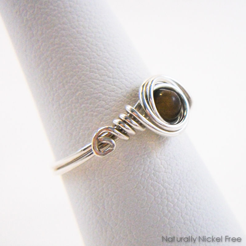 Tiger Eye Bead Wire Wrapped Ring with Argentium Sterling Silver - product images  of