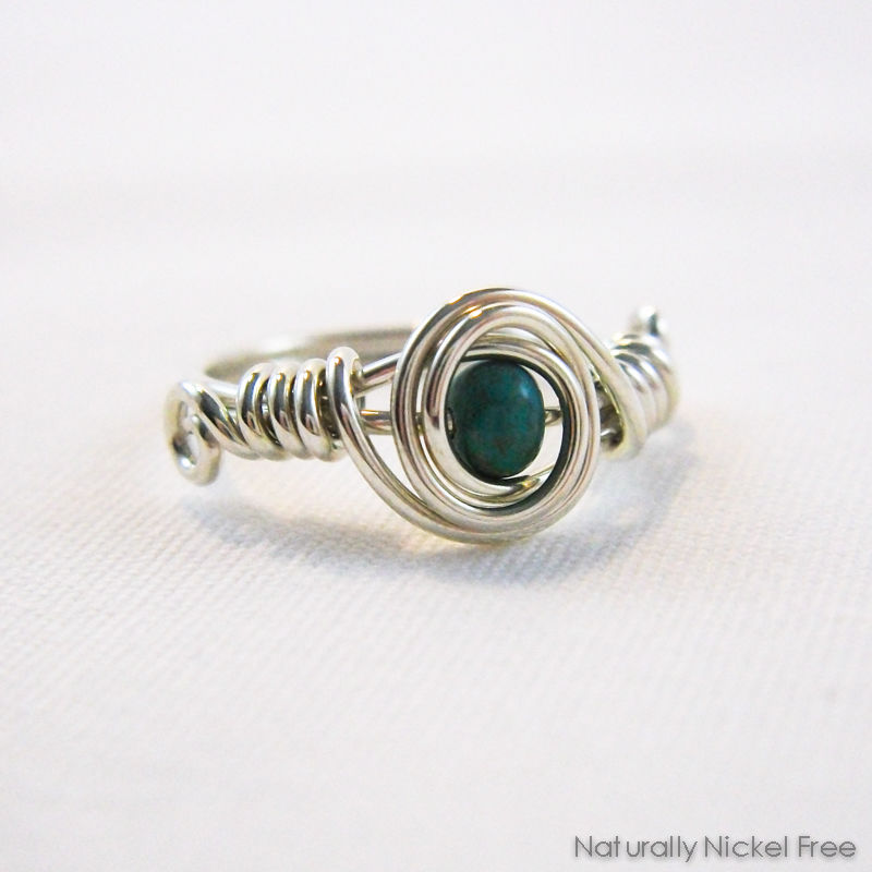 Turquoise Bead Wire Wrapped Ring with Argentium Sterling Silver - product image