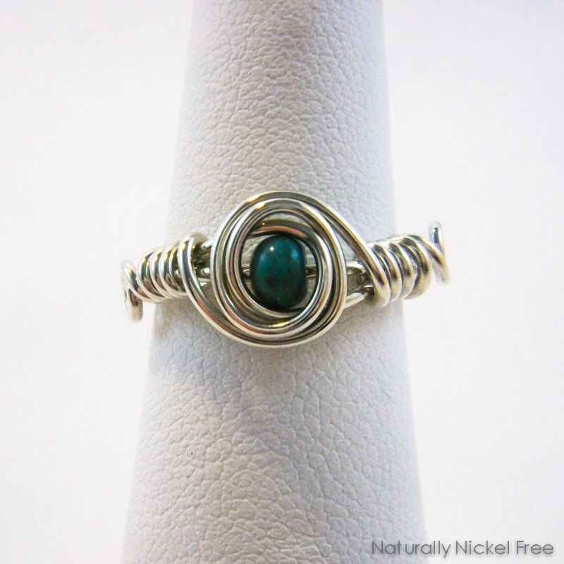 Turquoise Bead Wire Wrapped Ring with Argentium Sterling Silver - product images  of