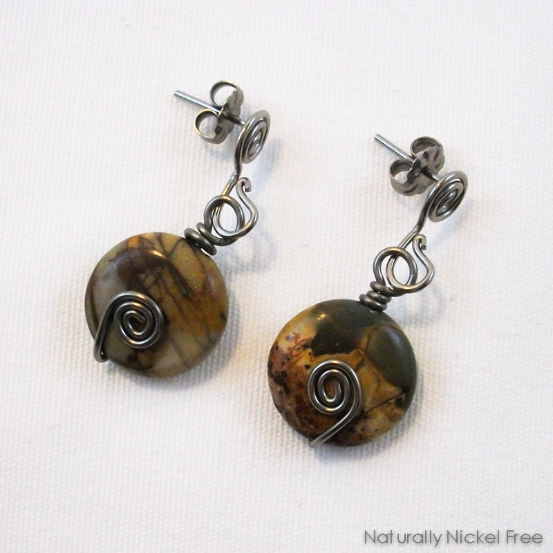 River Creek Jasper Bead Dangle Niobium Post Earrings - product image