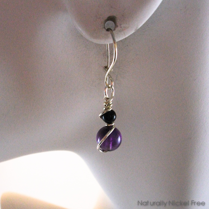 Amethyst Argentium Interchangeable Earrings