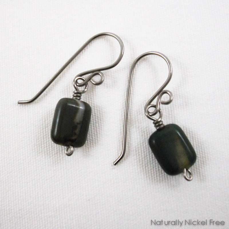 Dark Green River Creek Jasper Niobium Earrings