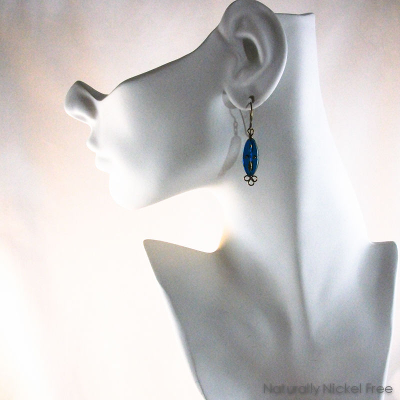 Blue Glass Marquise Earrings with Gold Star - product images  of